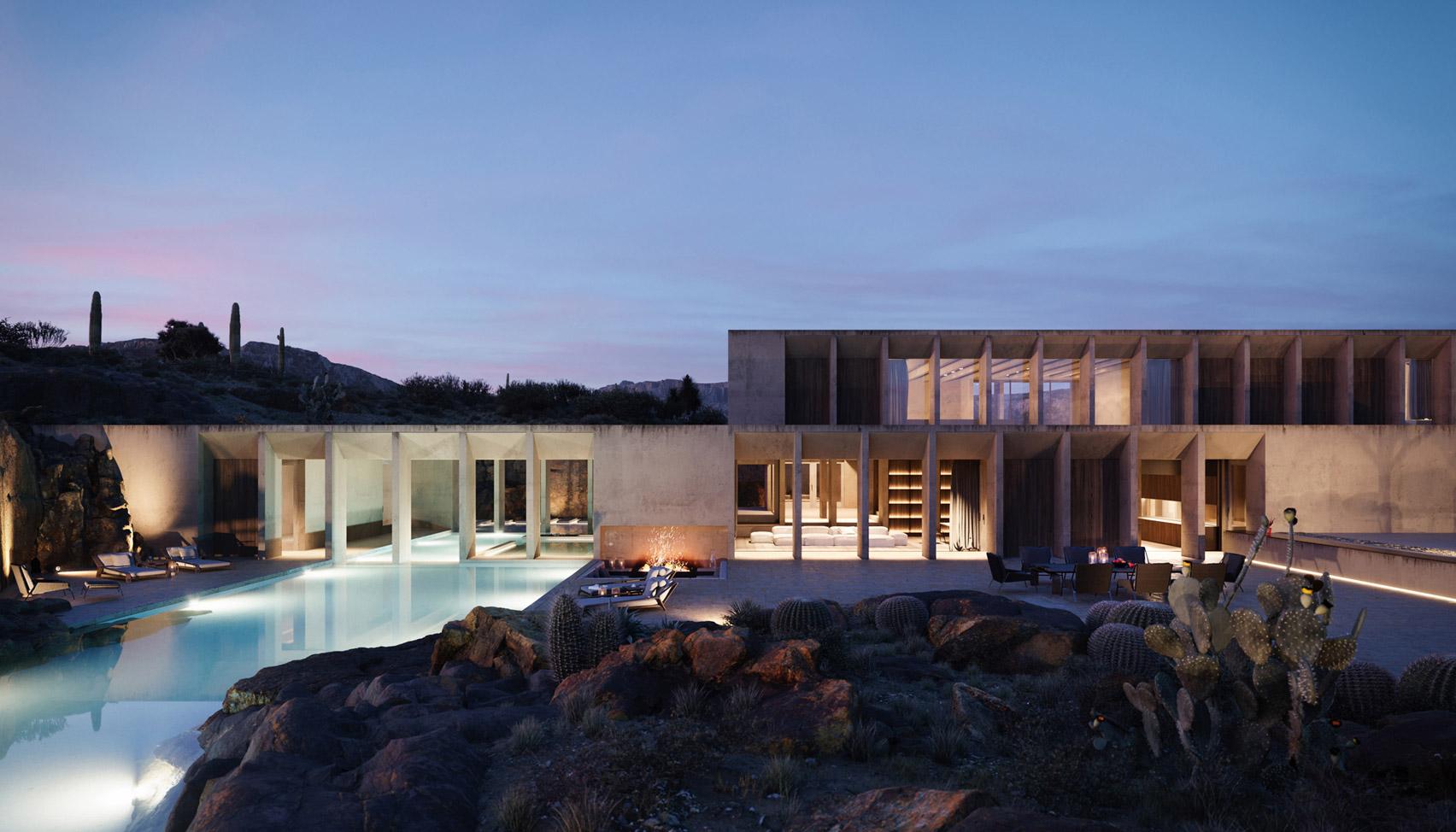 Beton luxushotel a Sonoran Sivatag kellős közepén
