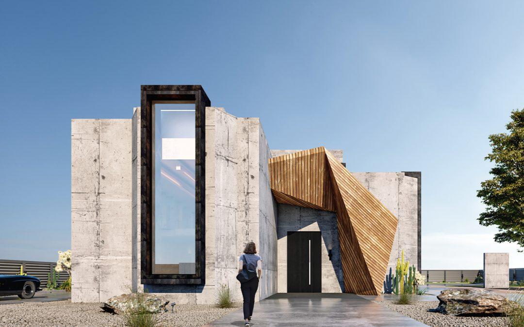 Geometrikus betonház a modern brutalizmus jegyében