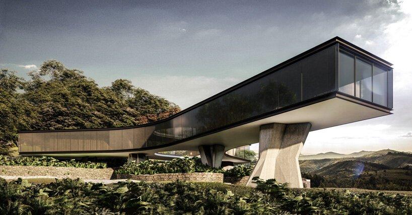 Vastag betonoszlopok tartják a Tetro Arquitetura által tervezett Xingu házat Brazíliában